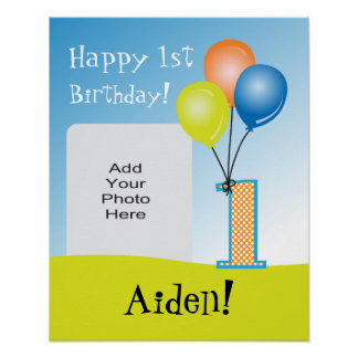 Colored Balloons Child's 1st Birthday Photo Poster