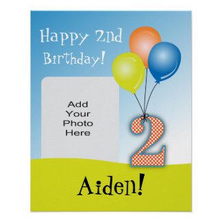 Colored Balloons Child's 2nd Birthday Photo Poster