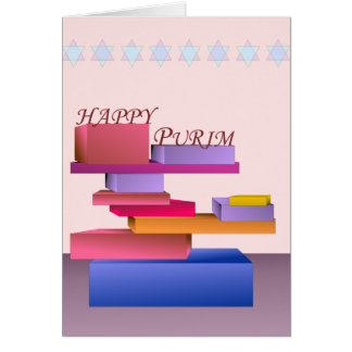 Colored Blocks Happy Purim Card