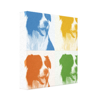 Colored Border Collie Pop Art Canvas