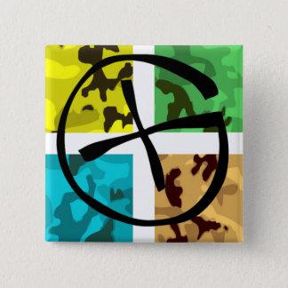 Colored Camo Geocaching Logo 2 Inch Square Button