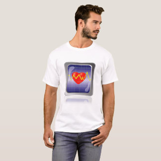 Colored Cardiogram Icon and Red Heart Isolated on T-Shirt