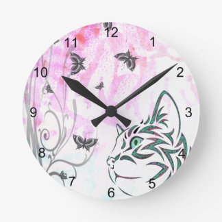 Colored Cat, Butterflies and Floral Swirls Clock