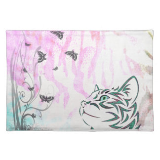 Colored Cat, Butterflies and Floral Swirls Placemats