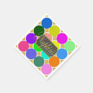Colored Circle Gold Decorative Paper Napkin