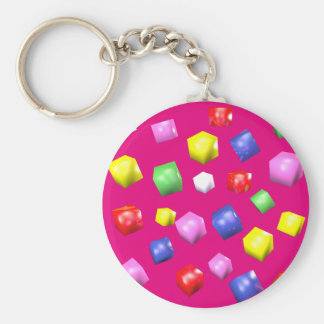 Colored cubes 3d rendered basic round button keychain
