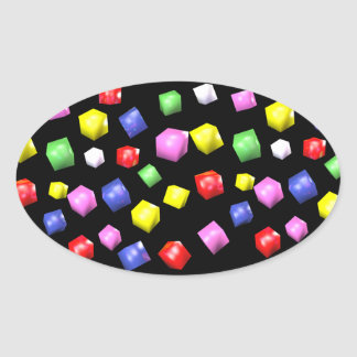 Colored cubes 3d rendered oval sticker