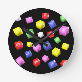 Colored cubes 3d rendered round clock