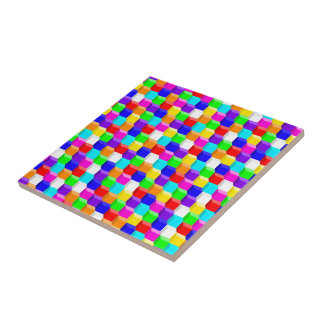 Colored cubes ceramic tile
