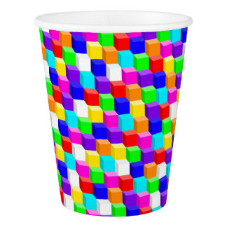 Colored cubes paper cup
