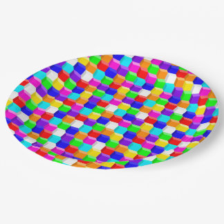 Colored cubes paper plate