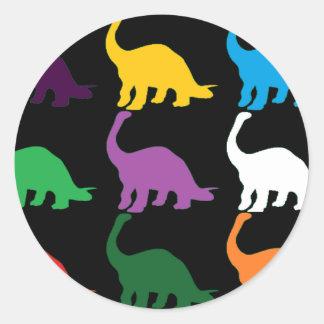 Colored Dinos Classic Round Sticker