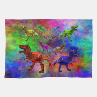 Colored Dinosaurs on Pastel Background Kitchen Towel