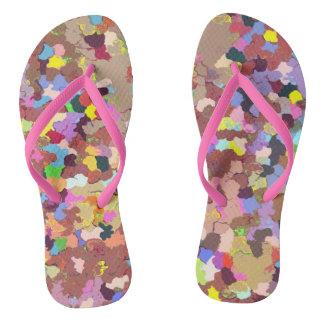 Colored Dots Flip Flops
