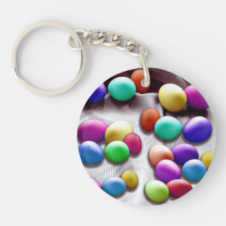 Colored Easter Egg Fun Double-Sided Round Acrylic Keychain