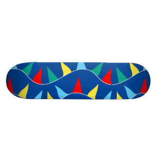 Colored flags skate board deck