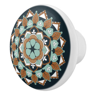 Colored Floral Mandala  060517_1 Ceramic Knob