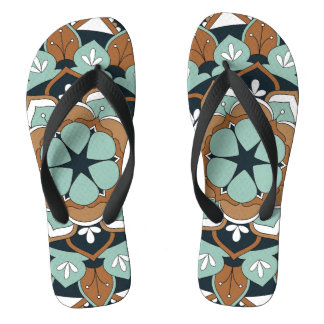 Colored Floral Mandala  060517_1 Flip Flops
