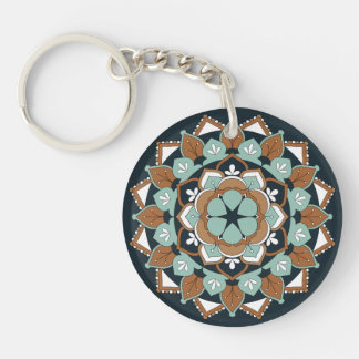 Colored Floral Mandala  060517_1 Keychain
