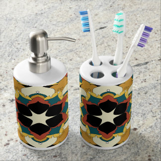 Colored Floral Mandala 060517_4 Soap Dispenser And Toothbrush Holder