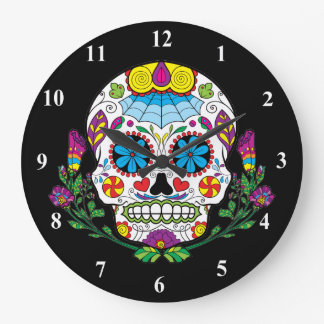 Colored Flowers Mexican Tattoo Sugar Skull Large Clock