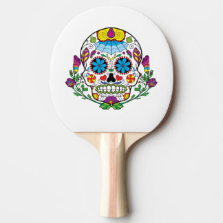 Colored Flowers Mexican Tattoo Sugar Skull Ping Pong Paddle