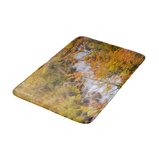 Colored Forest Landscape Scene, Patagonia Bathroom Mat