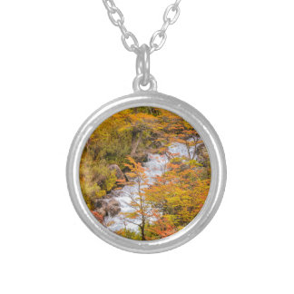 Colored Forest Landscape Scene, Patagonia Silver Plated Necklace