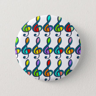 colored G clef music notes pattern 2 Inch Round Button