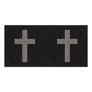 Colored Gem Cross Custom Photo Card