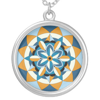 Colored Geometric Floral Mandala 060517_2 Silver Plated Necklace