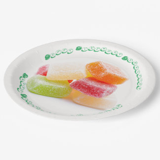 Colored Gummy Square Sweets 9 Inch Paper Plate