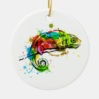 Colored hand sketch chameleon ceramic ornament