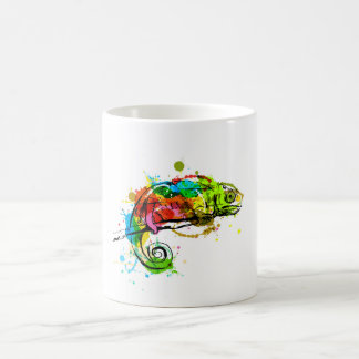 Colored hand sketch chameleon coffee mug