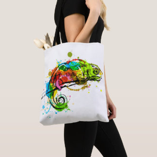 Colored hand sketch chameleon tote bag
