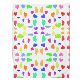 Colored Hearts Duvet Cover