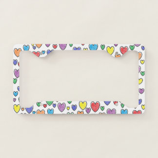 Colored Hearts License Plate Frame