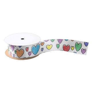 Colored Hearts Ribbon Satin Ribbon
