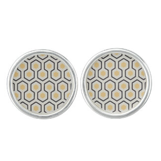 Colored Honeycomb Grid Pattern Cufflinks