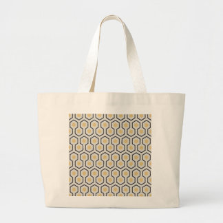 Colored Honeycomb Grid Pattern Large Tote Bag