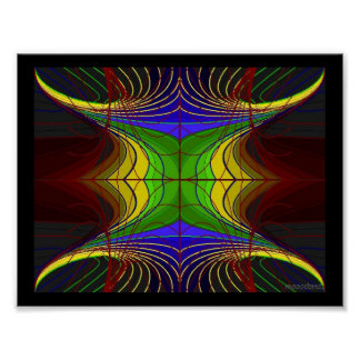 Colored Horn Flower Lines on Slate Poster