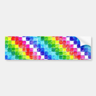 Colored In Graph Paper Squares Bumper Sticker