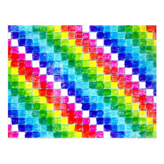 Colored In Graph Paper Squares Postcard