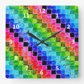 Colored In Graph Paper Squares Square Wall Clock