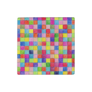 Colored In Graph Paper Squares Stone Magnets