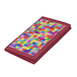 Colored In Graph Paper Squares Tri-fold Wallet