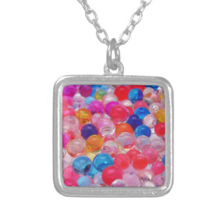 colored jelly balls texture silver plated necklace