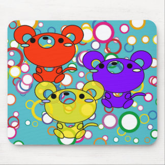 Colored Kittys on Circles Mouse Pad