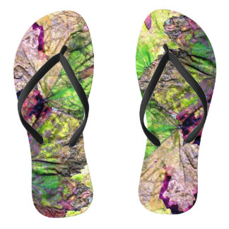 Colored Leaves Flip Flops