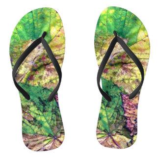 Colored Leaves Flip Flops